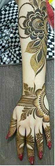 Engagement mehndi designs for back hand and arm