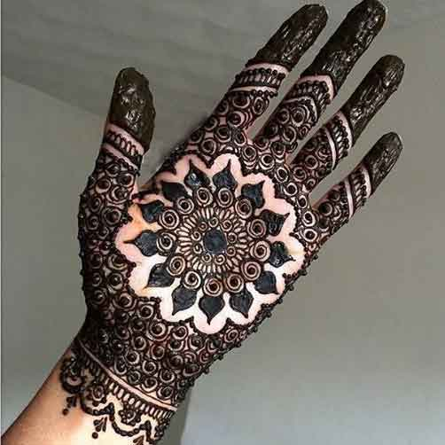 Full palm gol tikka mehndi designs for engagement