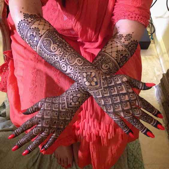 Full back hands and arms bridal engagement mehndi designs