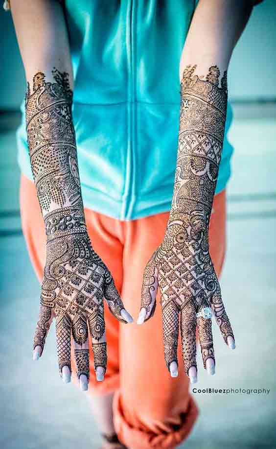 Latest mehndi styles for full hands and arms