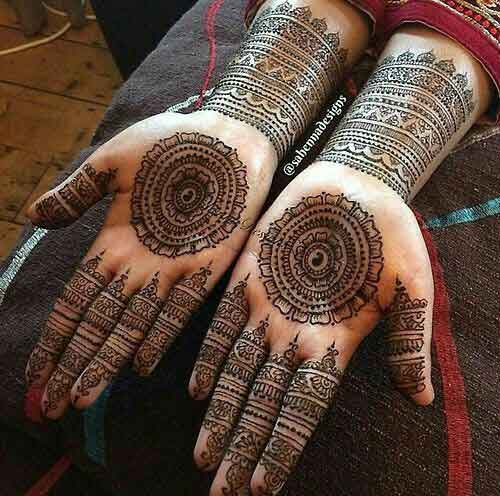 Latest intricate gol tikka mehndi designs for engagement