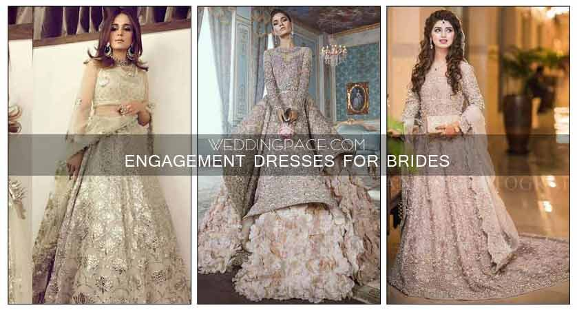 89a7fe27a52 Latest Pakistani Engagement dresses for brides in 2018