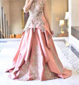 Latest pink short frock with lehnga for Pakistani Engagement bride