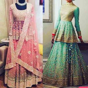 Latest green and pink short peplum frock with matching lehnga designs for Pakistani engagement bride