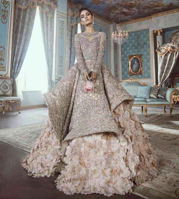 Latest grey and pink frock with lehnga for Pakistani engagement bride