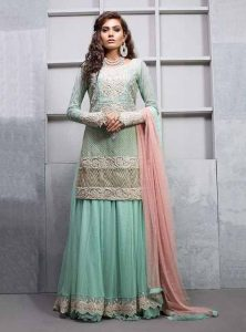 Latest sky blue kurti with lehnga for engagement