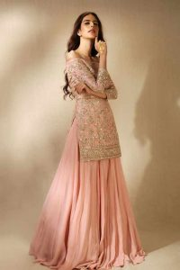Best pink kurti with lehnga for Pakistani engagement brides