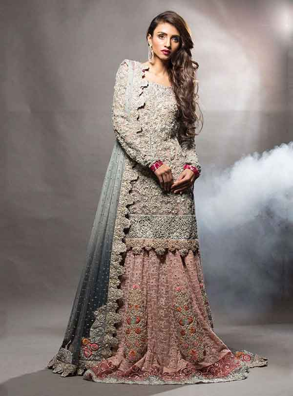 Grey and pink kurti with lehenga for engagement brides