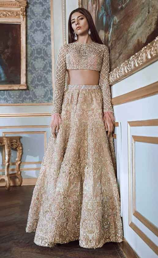 Latest golden lehnga choli for engagement brides