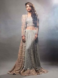 Grey lehnga choli with golden dupatta for engagement