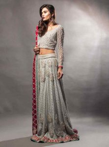 Latest grey and red lehnga choli for engagement brides