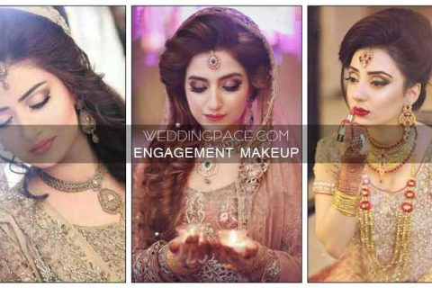 Pakistani engagement makeup ideas according to dress color combinations
