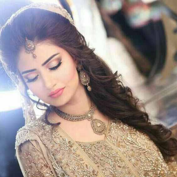 Best bridal engagement makeup with golden dress