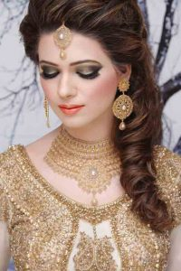 Golden makeup look for engagement