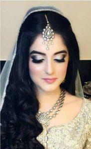 Best Pakistani engagement makeup for grey bridal dress