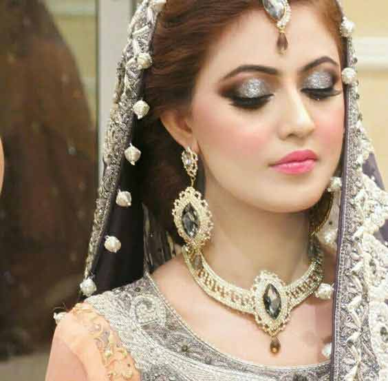 Best Pakistani engagement makeup with grey dress color combinations
