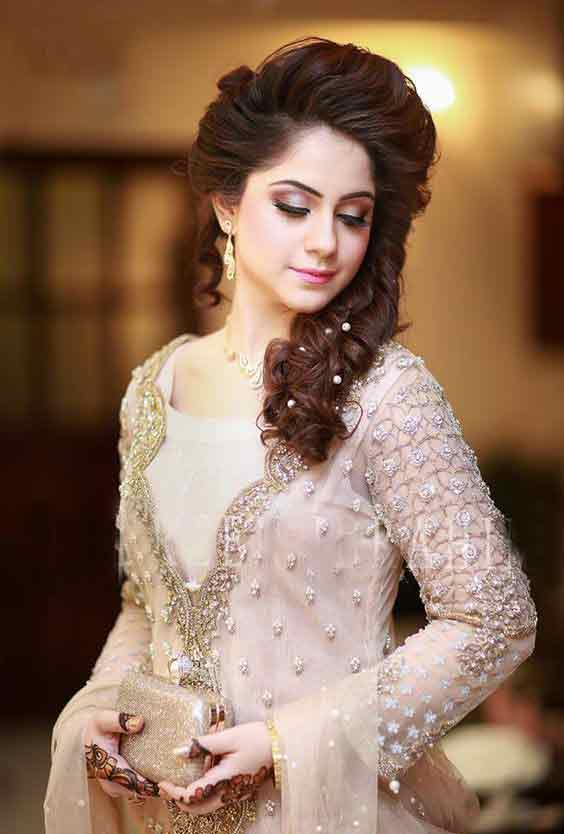 Latest bridal engagement makeup makeup with off white dress