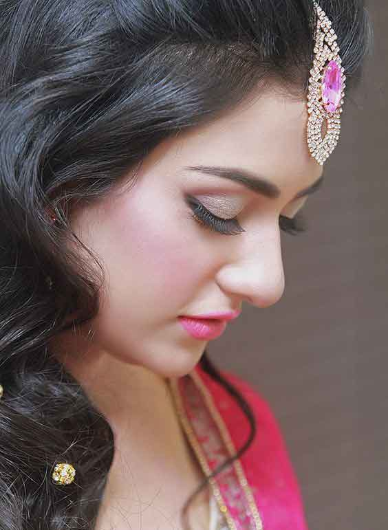 Latest bridal engagement makeup with pink dress