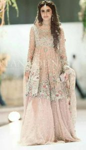 Beautiful short frock with sharara for Pakistani engagement