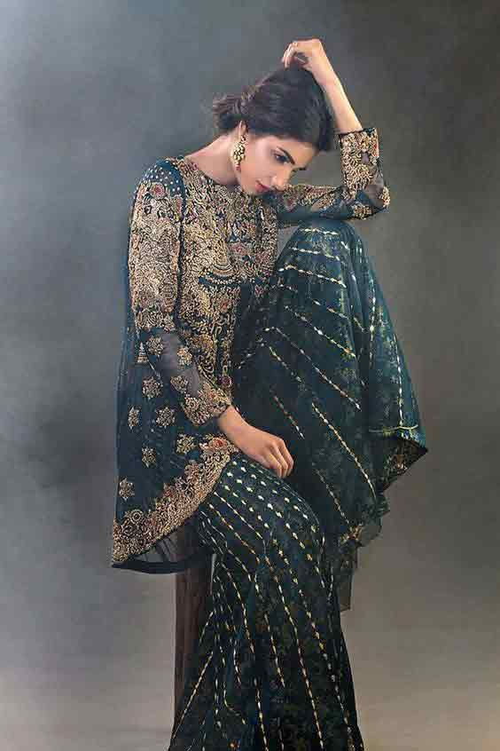 Green and golden short frock with sharara for engagement bride