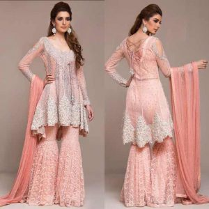Pink and silver short frock with sharara for engagement