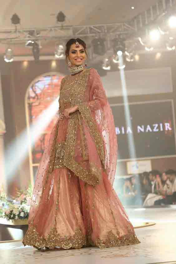 Pink short shirt with sharara for Pakistani engagement brides