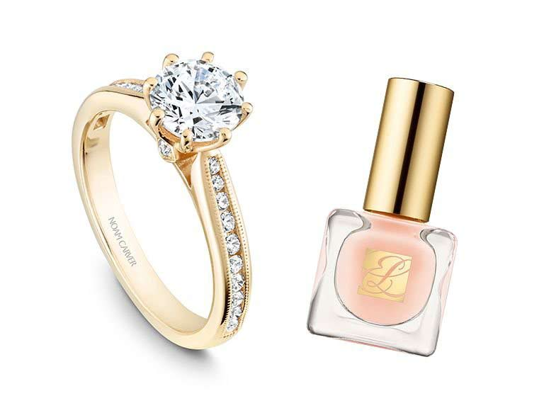 Yellow gold ring with pink nail polish for engagement