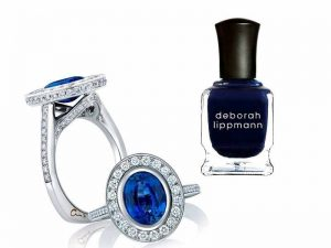 Sapphire ring with blue nail polish