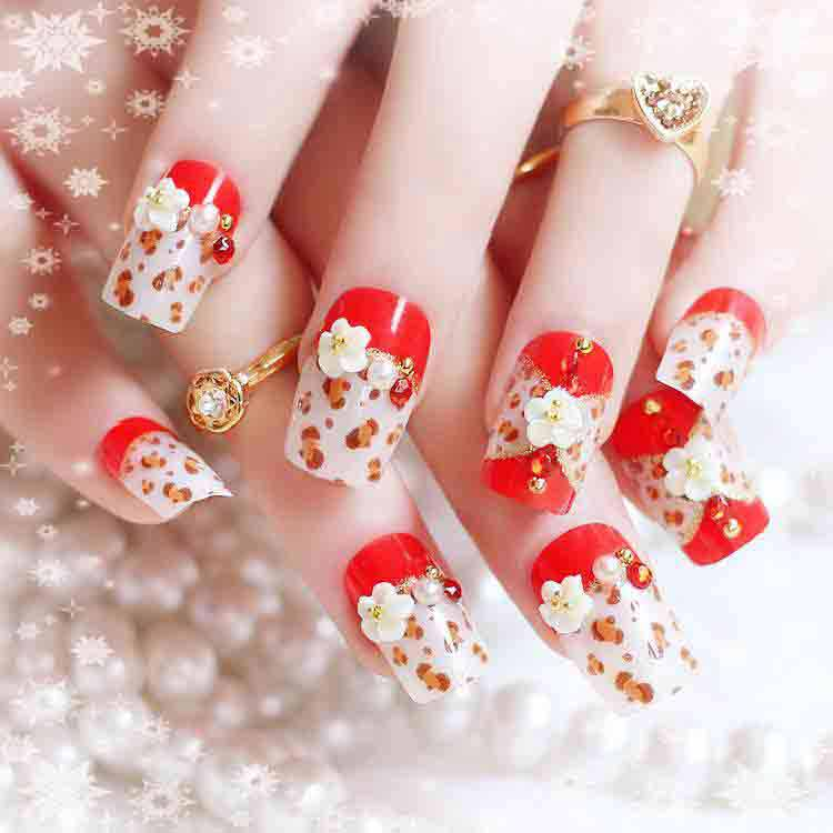 Pakistani red and white engagement nail art