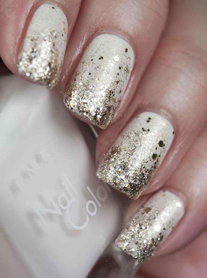 Latest white and silver engagement nail art designs