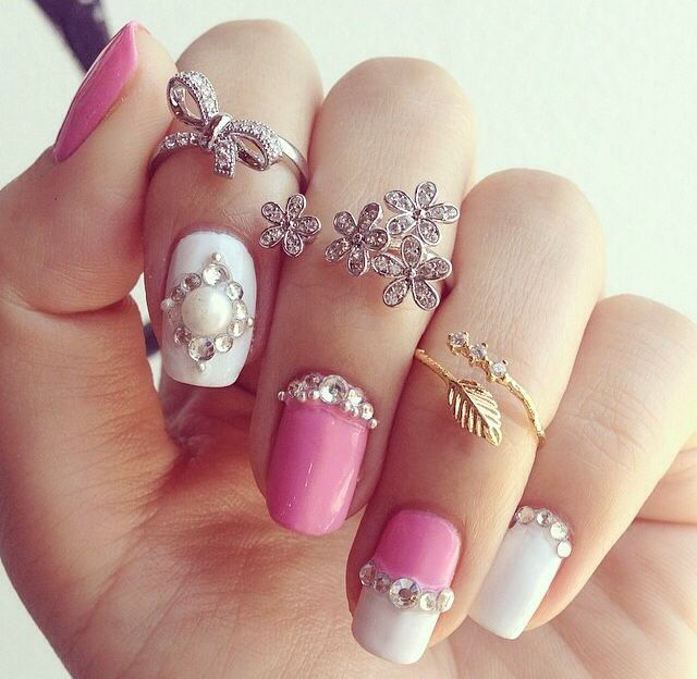 Latest pink and white engagement nail art designs