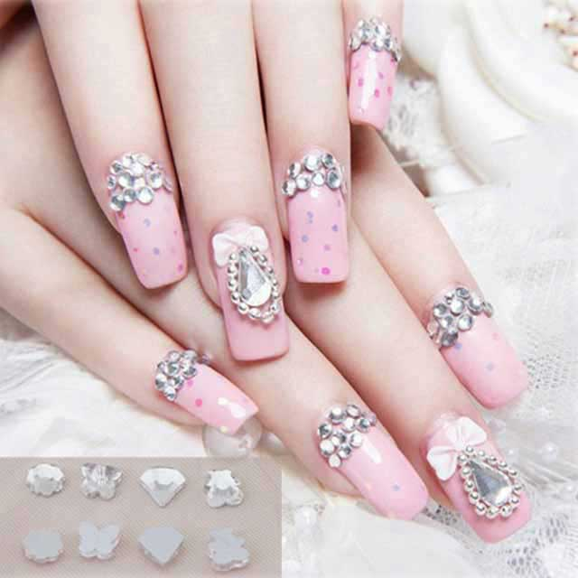 Latest pink beaded manicure for engagement brides