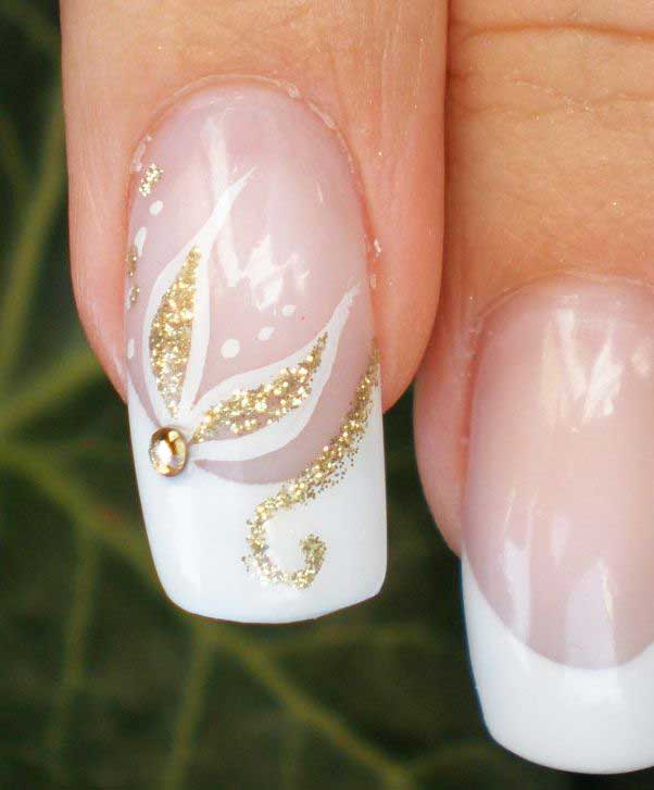 Latest white and golden floral engagement nail art