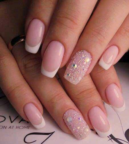 Simple pink and white manicure for engagement