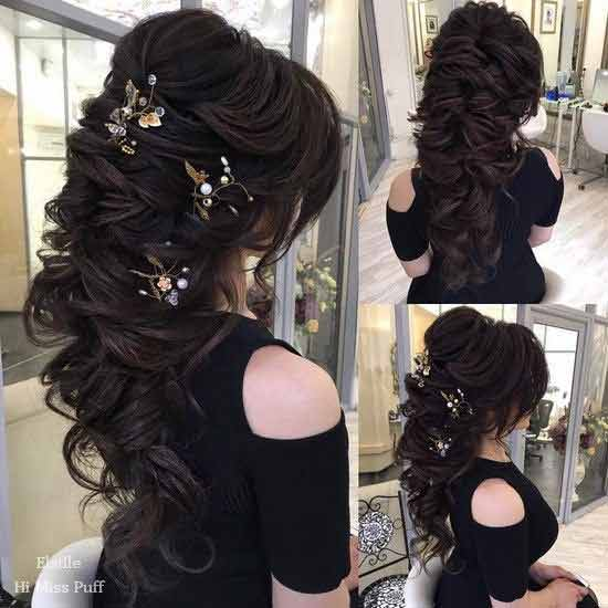 Twisted loose braided hairstyle with hair accessories