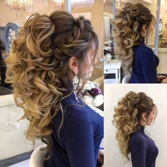 Braided hairstyle with loose curls for engagement brides