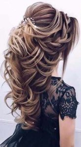 Taut hairstyle with accessories for engagement brides