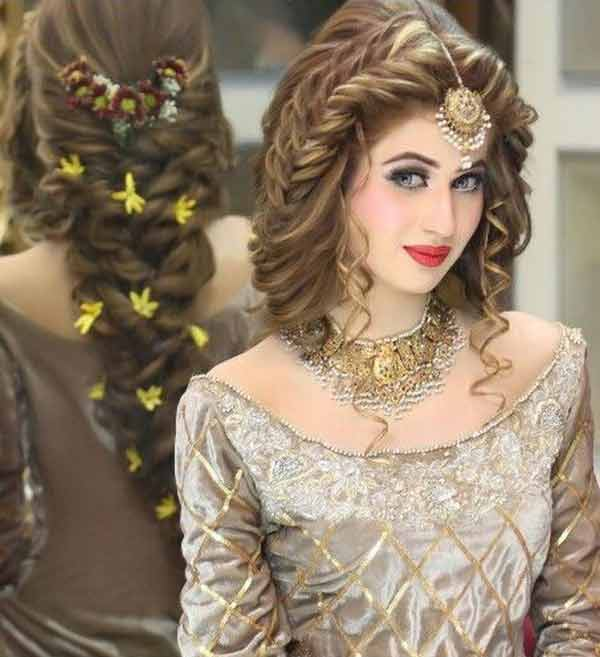 Twisted braid and curly hairstyle for Pakistani engagement brides