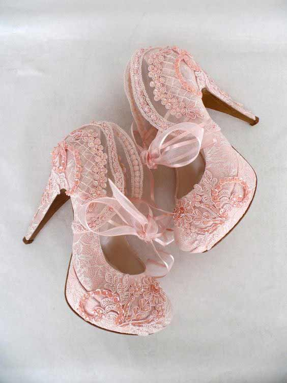 Pink high heels for engagement brides in Pakistan
