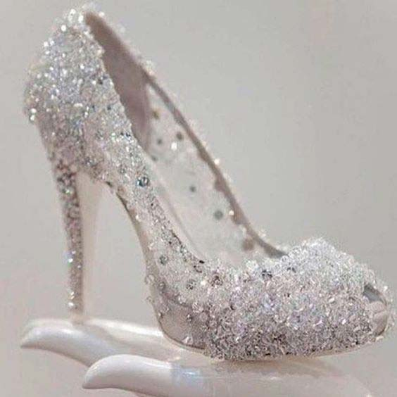 Beautiful silver high heels for engagement brides