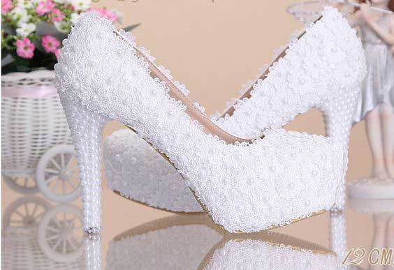 Beautiful white high heels for Pakistani engagement brides