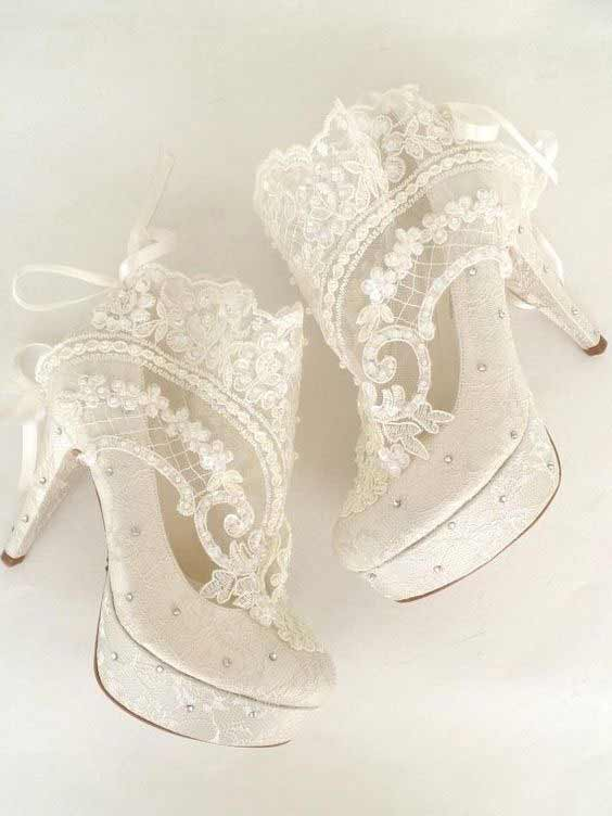 Latest white net lace bridal heels shoes in Pakistan