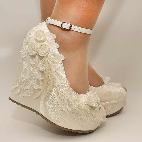 Latest off white bridal wedges shoes for Pakistani brides
