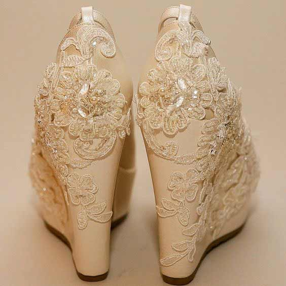 Beautiful golden Pakistani engagement wedges shoes for bridals