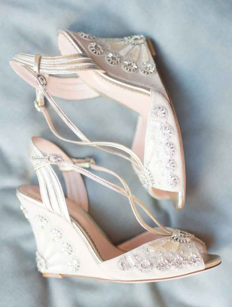 Latest Pakistani engagement pink wedges shoes for brides