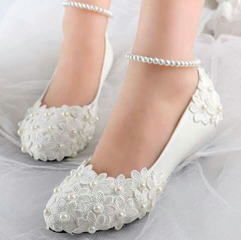 New Lace and pearls bridal flats for engagement