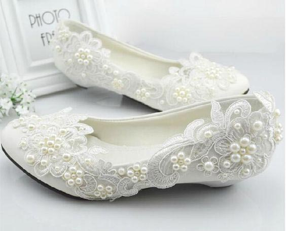 Latest white bridal flats in Pakistan