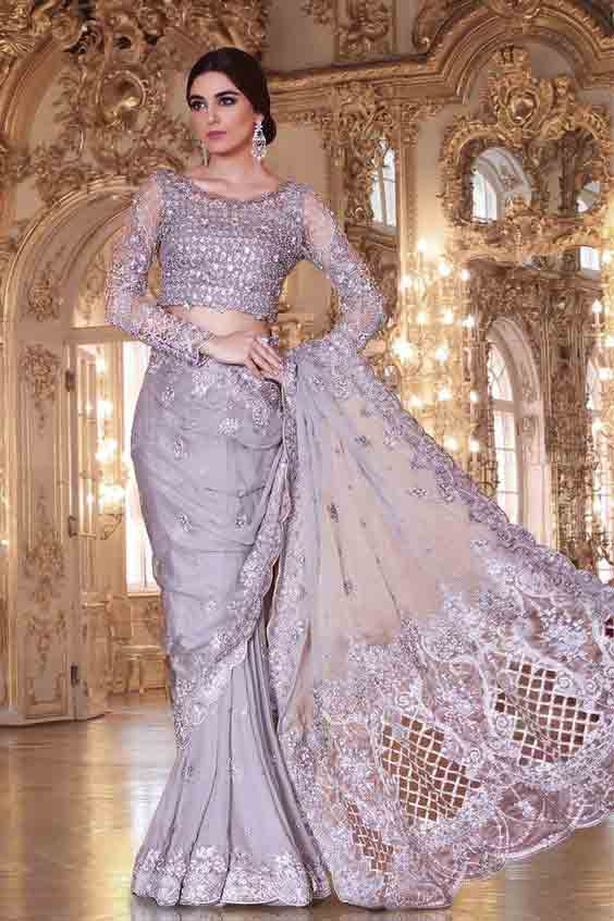 Pakistani fishtail bridal sarees for weddings