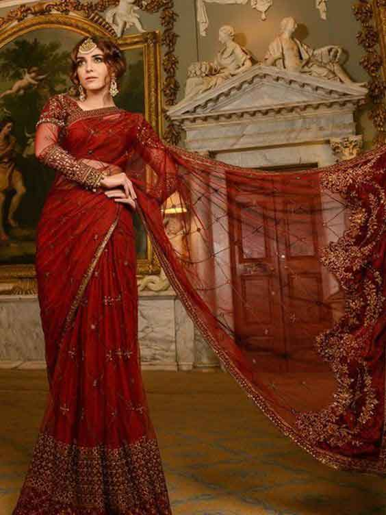 Beautiful red bridal sarees in Pakistan