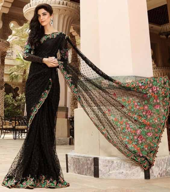 Pakistani black net saree designs for bridals